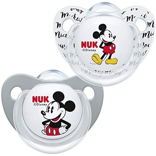 NUK 10176213 Disney Mickey Mouse Trendline fopspeen silicone, 6-18 maanden, BPA-vrij, 2 stuks, grijs
