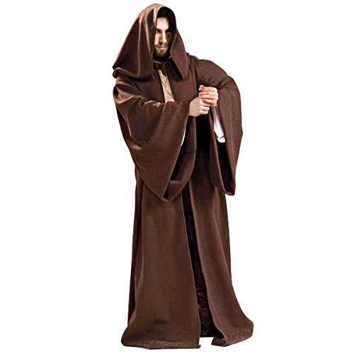 Outfit Jedi (Quesera Men's Star Wars Jedi Tunic Robe Sith Cloak Adults Robe Halloween Costume, Coffee,)