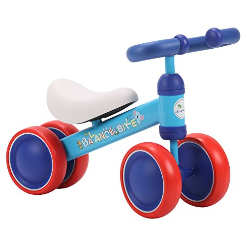 BLUE ISLAND Baby Balance Bikes Scooter Toddler Walker Infant Scooter No Foot Pedal Driving Bike Gift for Child Four Wheels First Bike (Blue and red) – Boys Girls