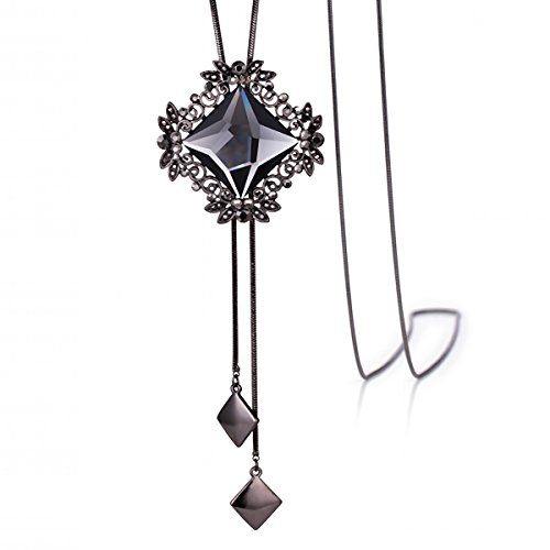 merdia-long-chain-necklace-for-women-rhombus-pendant-with-sparkly-glass-black-2042g