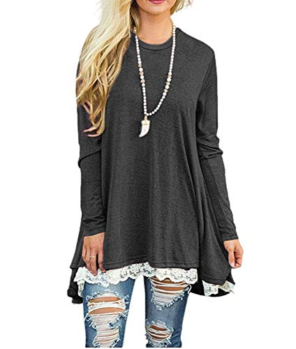 Women's Long Sleeve Lace Shirt Scoop Neck A-Line Tunic Tops Blouse for Leggings