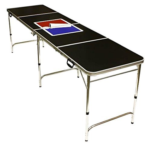8' Folding Beer Pong Table with Bottle Opener, Ball Rack and 6 Pong Balls - Sports Design - By Red Cup Pong (Renewed)