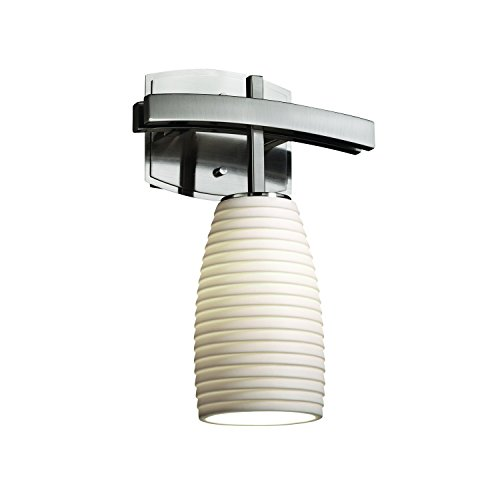 Justice Design Group - Limoges Collection - Archway Wall Sconce - Tall Tapered Cylinder - Brushed Nickel Finish with Sawtooth Shade