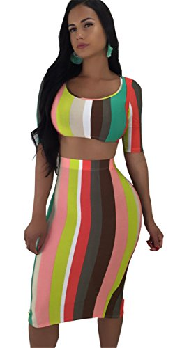 Moulante Crop Tops Jupes Tenues Bande Ensemble Robe Femmes Qikaka Stripe 2 Clubwear Pices Imprim Party wXxwB0pqa