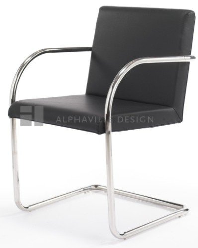 Brunston Leather Cantilever Chair With Tubular Steel Frame - Black Leather