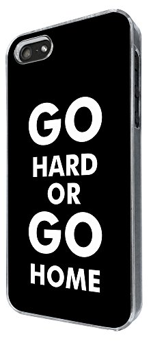 864 - Go Hard Or Go Home Design iphone 5 5S Coque Fashion Trend Case Coque Protection Cover plastique et métal