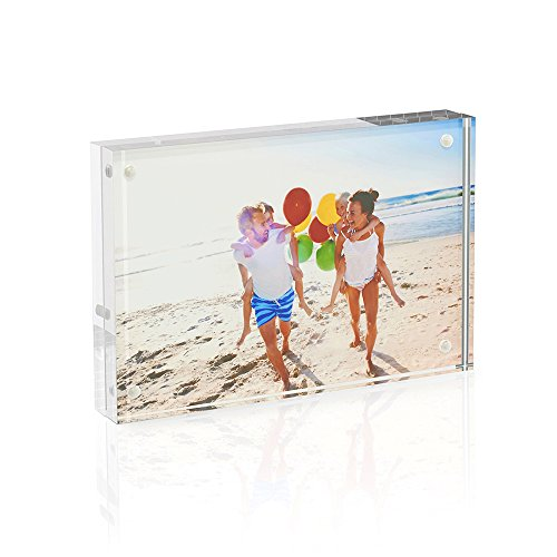(TWING Acrylic Photo Frame - 5x7 inches 4 Magnet Double Sided Photo Frame with Microfiber Cloth,12 + 12MM Thickness Clear Picture Frame Desktop Display)