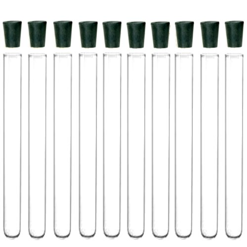 10 Pack - 20x150mm Pyrex Glass Test Tubes with Rubber Stoppers