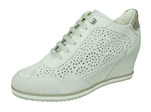 - Geox Womens Sneakers D Illusion B Suede Wedge Boots-Off White-8