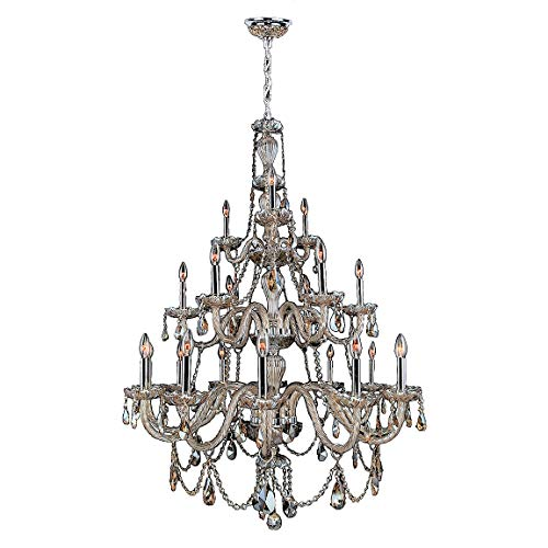 (Worldwide Lighting Provence Collection 21 Light Chrome Finish and Golden Teak Crystal Chandelier 38
