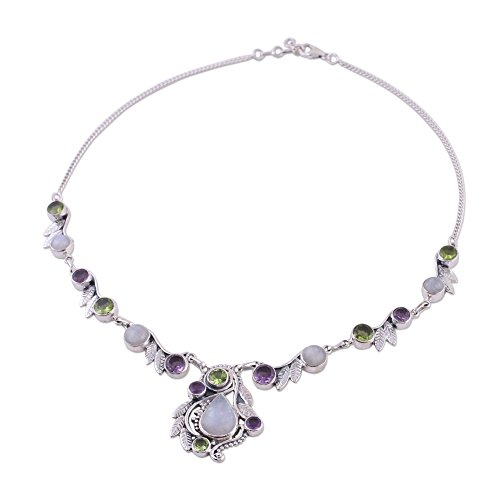 (NOVICA Multi-Gem Rainbow Moonstone .925 Sterling Silver Pendant Necklace, 16.75