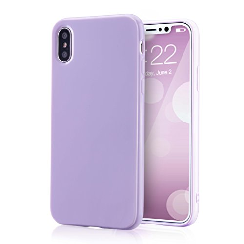 for iPhone Xs Lavender Case, technext020 Shockproof Ultra Slim Fit Silicone iPhone 10 Cover TPU Soft Gel Rubber Cover Shock Resistance Protective Back Bumper for Apple iPhone X Lavender