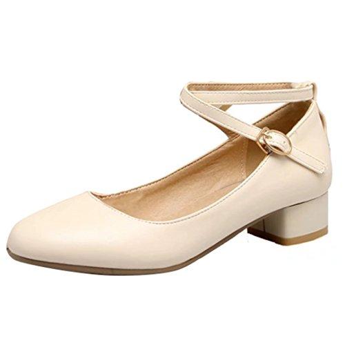 bf8a4a686cf5a4 AIYOUMEI Damen Geschlossen Knöchelriemchen Pumps mit Schnalle und 3cm Absatz  Chunky Heel Schuhe Beige