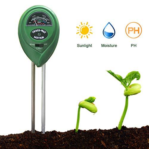 KETOTEK Medidor de pH del suelo, Medidor de humedad del suelo, Probador de luz de jardinería Kit de prueba de suelo 3 en 1 para granja, patio, jardín, césped, plantas y cultivo del suelo. (Verde)