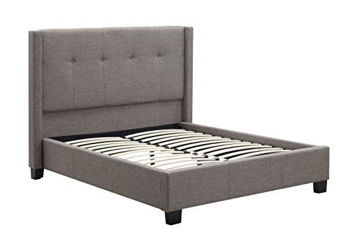 - Modus Furniture Madeleine Wingback Platform Bed, Linen, Dolphin, California King
