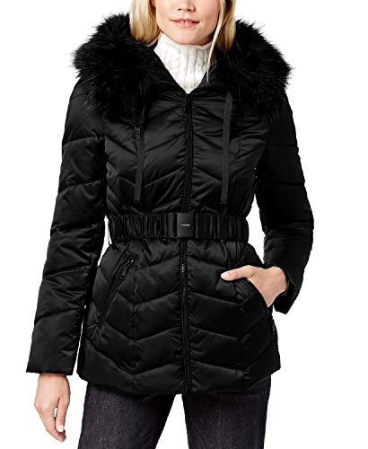 T Tahari Women's Leon Faux Fur Trim Hood Belted Coat Short Jacket Black (XL)