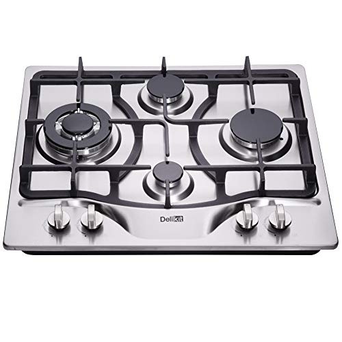 DeliKit DK245-A03 24 inch LPG/NG gas cooktop gas hob 4 Burners Dual Fuel 4 Sealed Burners Stainless Steel gas cooktop 4 burners Built-In gas hob 110V AC pulse ignition gas stove