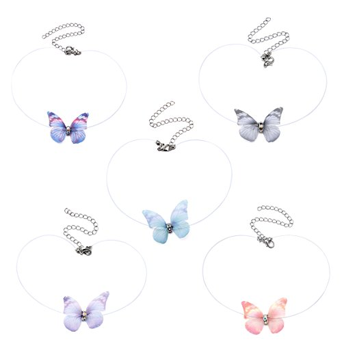 New Fashion Crystal Colorful 3D Yarn Butterfly Chokers Invisible Fishline Silk Choker Necklace for Women for $<!--$9.85-->