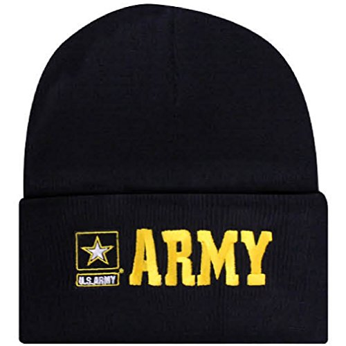 Offically Licensed US USA Army Star Logo Embroidered Beanie Watch Cap Stocking Hat Military ()