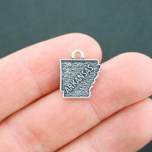 4 Arkansas State Map Charms Antique Silver Tone 2 Sided - SC5203 DIY Jewelry Making Supply for Charm Pendant Bracelet by Charm ()