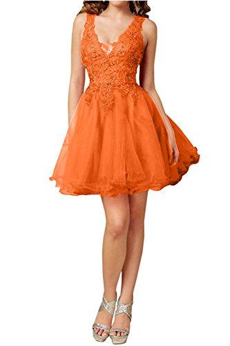Kurz Promkleider Orange Damen Ausschnitt Spitze V Partykleider Charmant Cocktailkleider Heimkehrkleider Aermellos HSBaF8xxwq