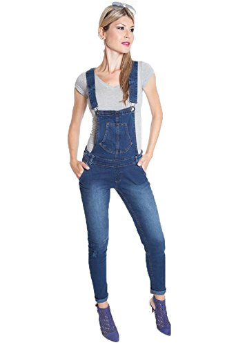 Suko Jeans Classic Denim Overalls for Women adjustable straps 67428 BLUE 14