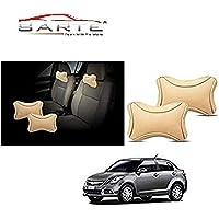 SARTE Premium Make Beige Designer Car Neck Rest Pillow (Set of 2 Pc) for -Maruti Suzuki - Swift Dzire New by SARTE