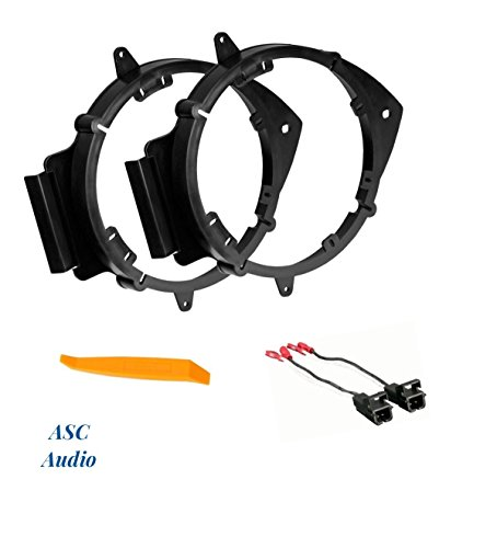 ASC 6+-Inch 6'' 6.5'' 6.75'' Car Speaker Install Adapter Mount Bracket Plates and Speaker Wire Connectors for Select GM Chevrolet GMC Pontiac Saturn Vehicles - Compatible Vehicles Listed Below by ASC Audio