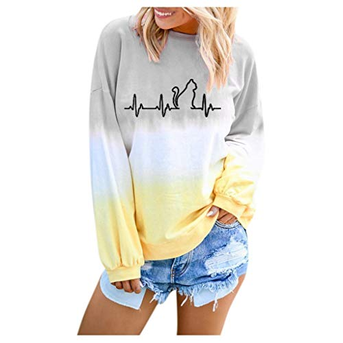 Xinantime Womens Gradient Loose Tees Casual Colorblock Shirt Long Sleeve Pullover Sweatshirt Tops Round Neck Blouse(b-Gray,XXL) (Best Tea Set Brands In India)