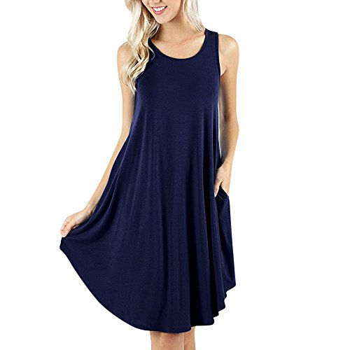 Tank Ribbed Pastel Ladies Shirt (Clearance Sale! Wintialy Women's Sleeveless Dress Pockets Casual Swing T-Shirt Dresses Please Check The)
