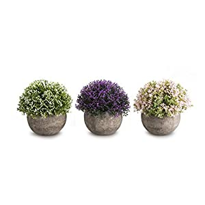 OPPS Mini Artificial Plants Plastic Fake Green Grass Flower Topiary Shrubs with Gray Pot for Home Décor - Set of 3 25