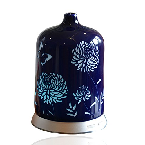 Smiley Daisy Aromatherapy Essential Oil Diffuser - Quiet Electric Ultrasonic With Beautiful Handcrafted Porcelain Cover - Continuous and Intermittent Mist With LED Light - 100 ML (Sapphire Blue)