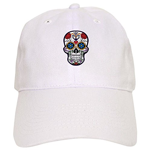 Truly Teague Cap (Hat) Floral Sugar Skull Day of the Dead - White