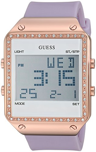 GUESS Women's Quartz Stainless Steel and Silicone Casual Watch, Color:Purple (Model: - New Guess Arrivals