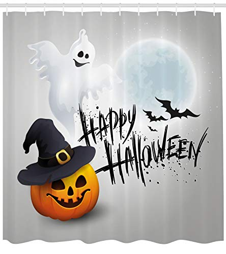 Ambesonne Halloween Shower Curtain, Happy Celebration Typography Stained Look Cute Ghost Pumpkin Hat Print, Fabric Bathroom Decor Set with Hooks, 75 Inches Long, White Black -