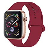 YANCH Compatible with for Apple Watch Band 38mm 40mm, Soft Silicone Sport Band Replacement Wrist Strap Compatible with for iWatch Nike+,Sport,Edition,S/M,Rose Red