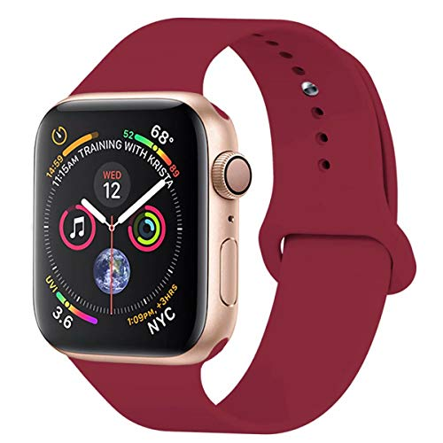 - YANCH Compatible with for Apple Watch Band 38mm 40mm, Soft Silicone Sport Band Replacement Wrist Strap Compatible with for iWatch Nike+,Sport,Edition,S/M,Rose Red