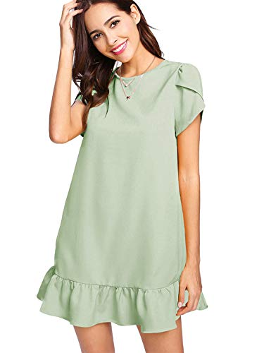 Verdusa Women's Round Neck Petal Short Sleeve Ruffle Hem Tunic Dress Green -