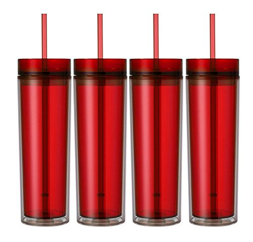 Skinny Acrylic Tumbler Double Wall 16 Oz - Red