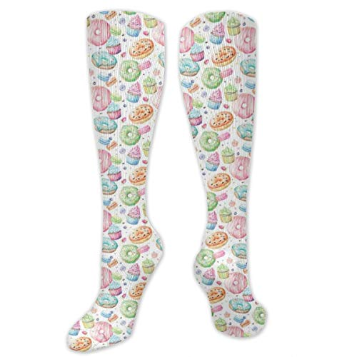 Compression Socks,Candy Shop Inspired Whipped Cream Topped Cupcakes Swirl Lollipops Macarons Donuts