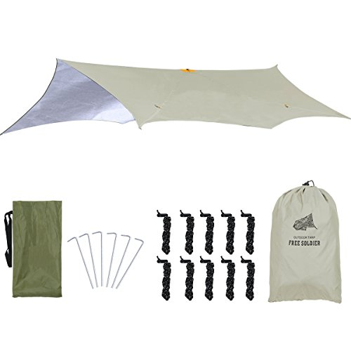 FREE SOLDIER Lightweight Waterproof Rain Fly Dual Use UV Protection Tarp Shelter for Camping Tactical Hammock Tent Tarp