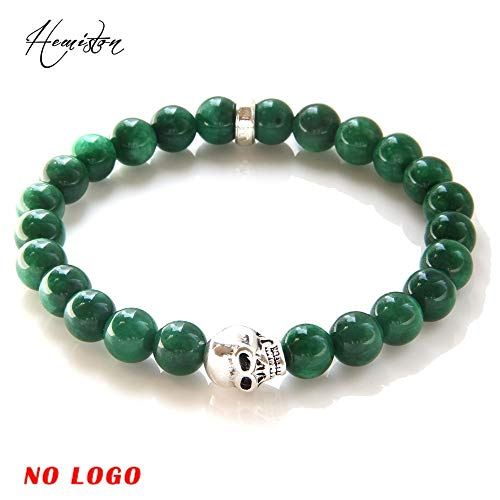 (Red Coral Green Aventurine Beads Elastic Bracelet | with Skull Bead Fashion Jewelry | Gift for Women Men)