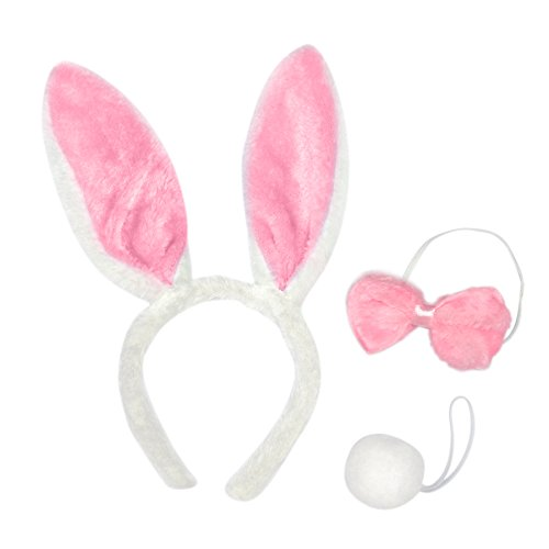Toptie Wholesale Set of 3 Bunny Ears Headband, Soft Touch Plush Party Accessory-Pink-6Sets