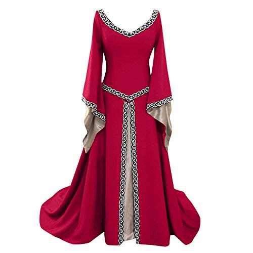 Caopixx Dress for Women Elegant 1950s Vintage Long Sleeve Medieval Dress Floor Length Cosplay Costume Princess Dress Red