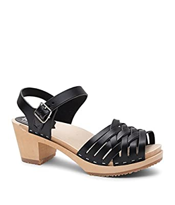 Sandgrens Swedish Wooden Low Heel Clog Sandals for Women | Madrid
