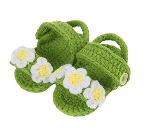 Smile YKK Strick Schuh Baby Unisex Strickschuh süße Stil One-Size 11cm Blüte Deko Grün