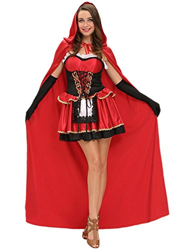 Women 3pcs Halloween Fairy Tale Little Red Riding Hood Costume Ruffles Dress Satin Cape Gloves (M)