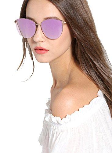 Mirrored Sunglasses for Women, Cat Eye Sunglasses, Rimless Sunglasses with Sunglasses Case (Purple)