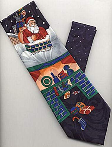 (tkpartysupplies4u Santa Going Down Chimney HO HO Christmas Neck TIE)