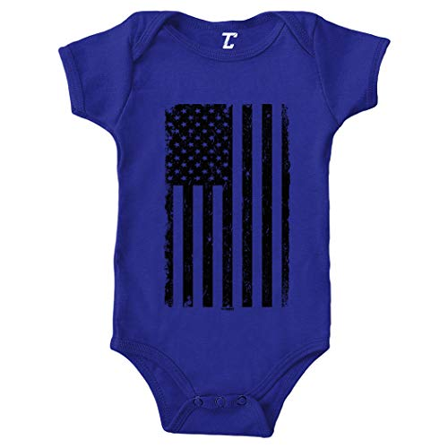 Tcombo Distressed Black American Flag - USA Bodysuit (Royal Blue, 6 ()